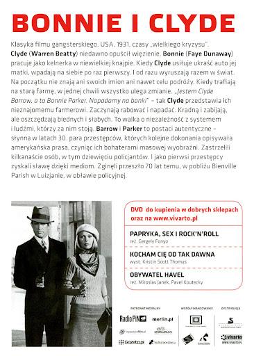 Tył ulotki filmu 'Bonnie i Clyde'