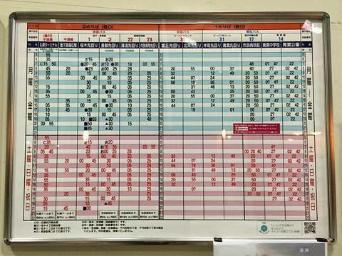 千歳駅バスターミナル 待合室内 時刻表