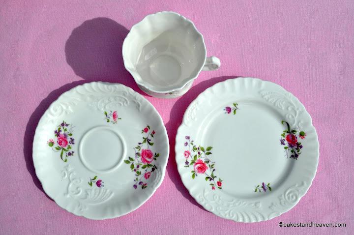 Frilly rim pink floral teacup trio