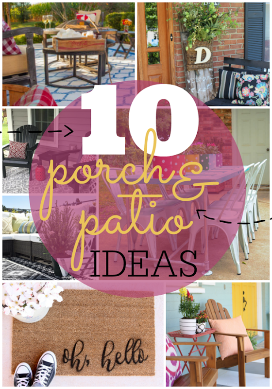 10 Porch & Patio Ideas at GingerSnapCrafts.com #outdoor #spaces