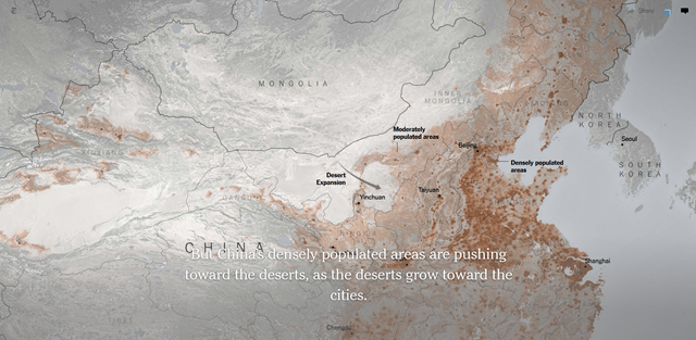 Map showing expansion of deserts in China, as moderately populated areas expand toward them. Graphic: The New York Times