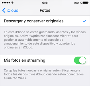 Activar mis fotos en streaming del iPhone