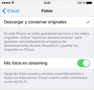 Activar mis fotos en streaming del iPhone
