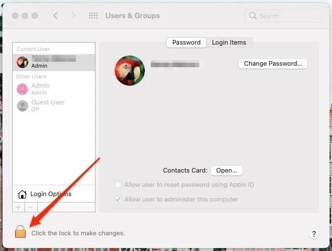 لقطة شاشة تعرض إعدادات المسؤولين على نظام Mac