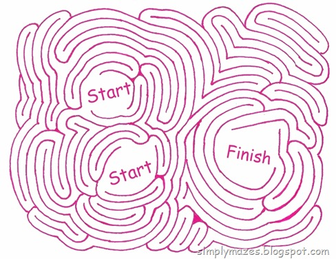 Maze Number 115: Getting Started.  A pink printable maze.