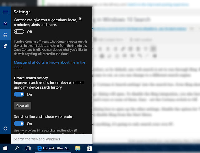 Cortana and Search Settings - Windows 10