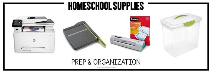 Prep and Organization Homeschool Supplies