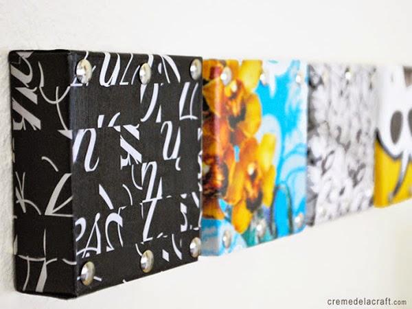 Decoração de parede com caixas de sapato