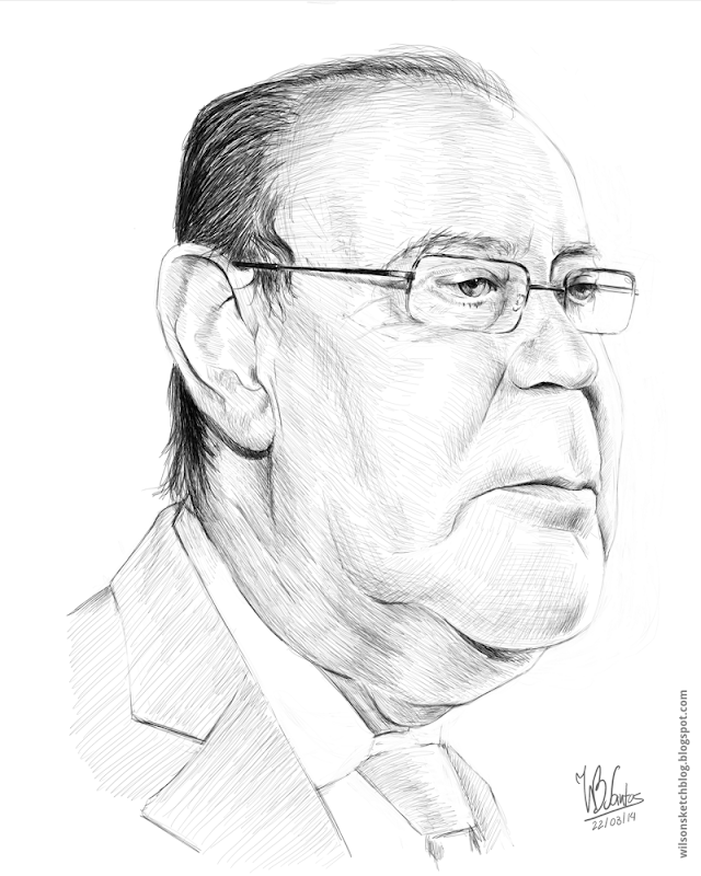 Caricature of Pinto da Costa, using Krita.