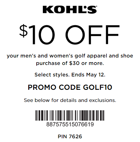Kohls Golf Apparel and Shoes Coupon $10 off $30