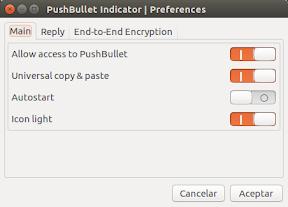 Configuración de copiar y pegar en Pusbullet Indicator