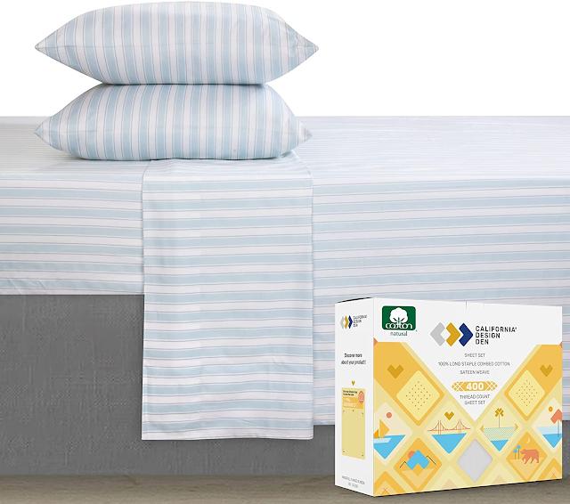 100% cotton blue striped sheets