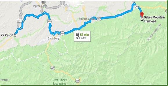 Map to Gabes Mountain Trailhead