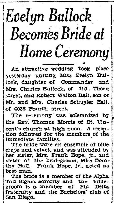 HALL_Robert W weds Evelyn BULLOCK _article in SD Union 16 Jul 1929_page 8_San Diego CA_cropped