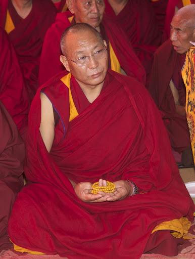 Dagri Rinpoche at Lama Zopa Rinpoche's long life puja, Maitreya Project grounds, Bodhgaya, India, January 2012. Photo by Bill Kane.Photo by Bill Kane.