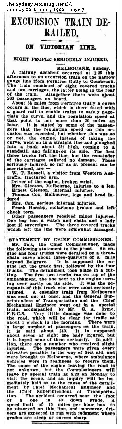 The Sydney Morning Herald - Excursion Train Derailed on Victorian line - 29th Jan 1906