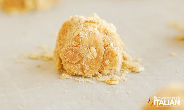 close  up of cookie dough ball