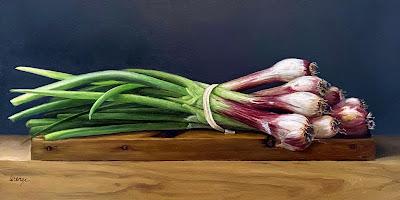 Red spring onions, still life, fresh produce