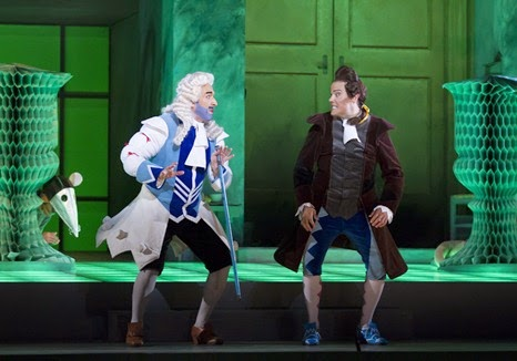 IN PERFORMANCE: Bass-baritone SIMONE ALBERGHINI as Dandini (left, in disguise as the Prince) and tenor DAVID PORTILLO as Ramiro (right) in Gioachino Rossini's LA CENERENTOLA at Washington National Opera, 17 May 2015 [Photo by Scott Suchman, © by Washington National Opera]