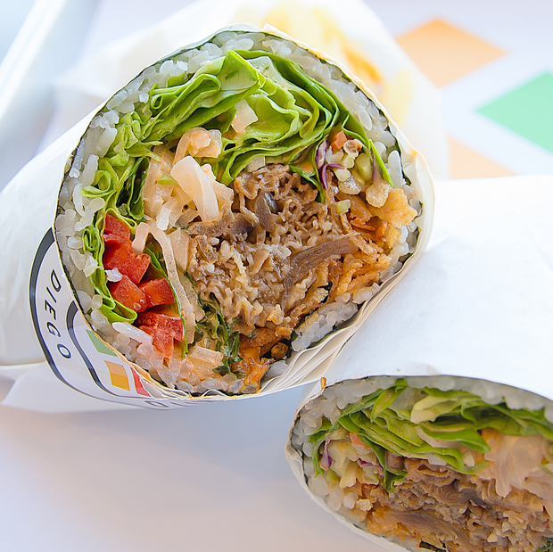 close-up photo of a sushi burrito