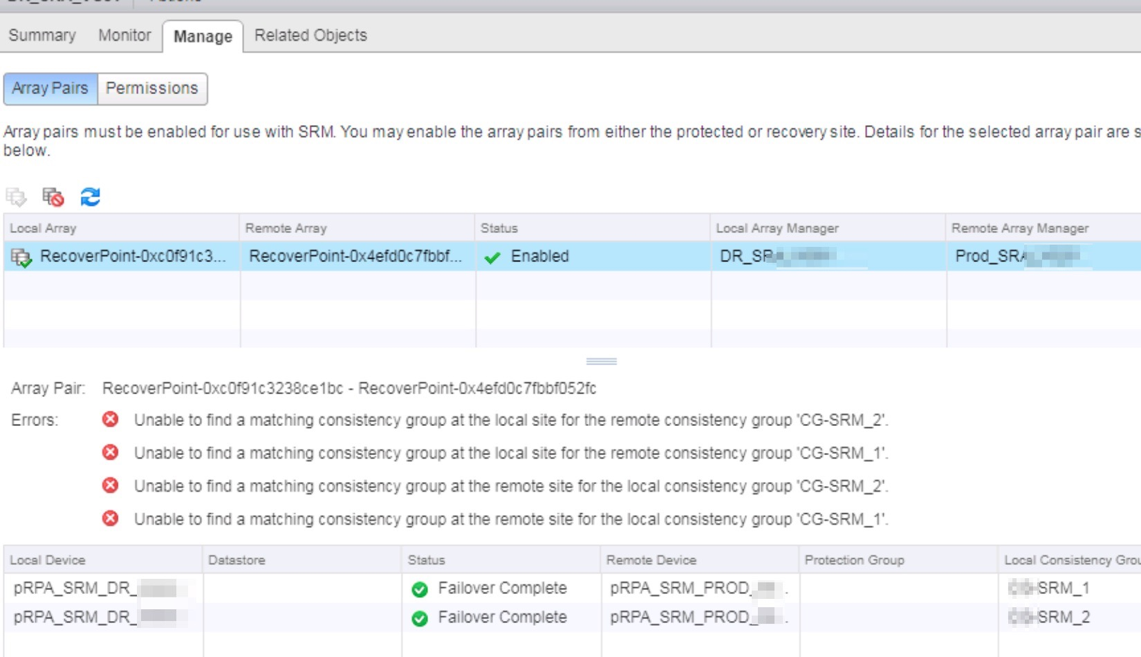 SRM 6 1 # - Problem adding ABR datastore after deleting PG