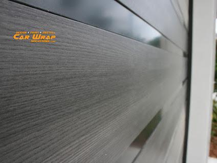 Garage doors custom vinyl wrapped using a modern looking - Garage door vinyl wrap ...