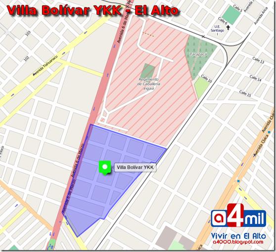 Villa Bolívar YKK: zona del Distrito 1 de El Alto