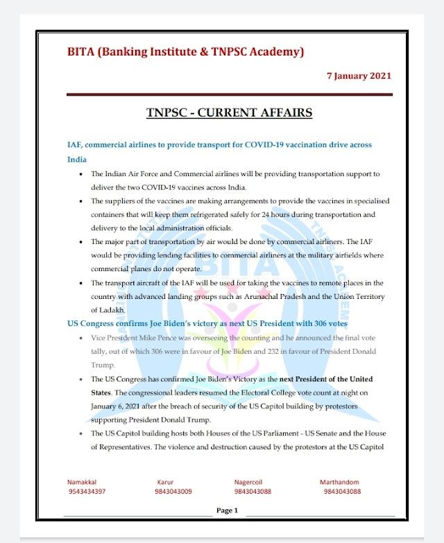 TNPSC Exam - Today Current  Affairs By BITA Academy ( 07 January  2021 )