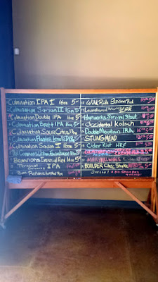 Chalkboard at Culmination Brewing with the Beer List on June 20, 2015