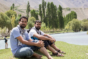Sitting on the bank of Ghizer River, Dahimal