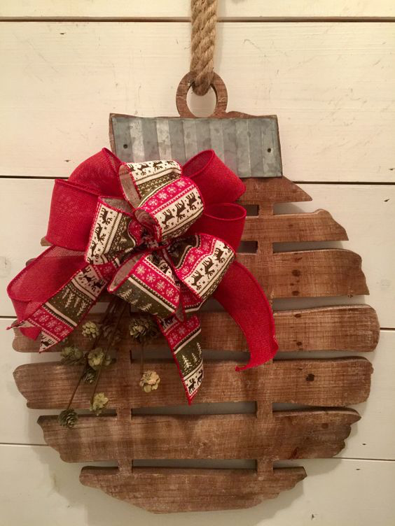 rustic wood christmas ball