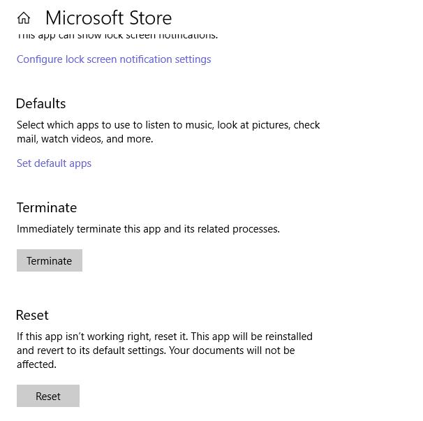 Reset Microsoft Store app