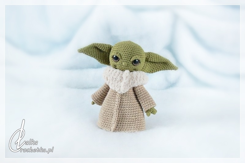 knitted baby yoda doll