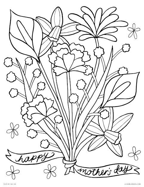 Mothers Day Flower Bouquet  Happy Mothers Day  Free Printable Coloring  Page For Adults And