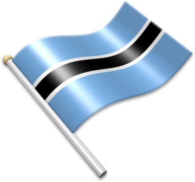 The Botswanan flag on a flagpole clipart image