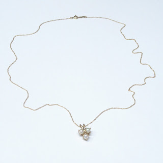 14K Gold & 3 Pearl Pendant Chain Necklace