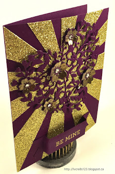 Linda Vich Creates: Solid Gold Tips For Using The Bloomin' Heart Thinlits Die. Dramatic Valentine card created with both the Sunburst and Bloomin' Heart Thinlits Dies.