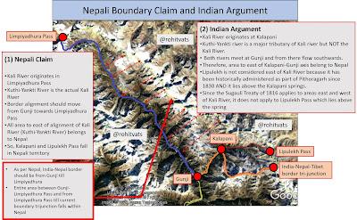 Nepal's new map claiming Kalapani, Lipiyadhura, and Lipulekh as its own territories.
