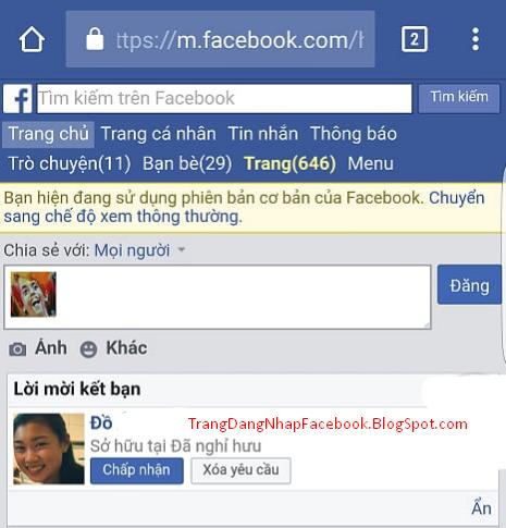 giao diện Facebook trên trình duyệt android sau khi đăng nhập thành công