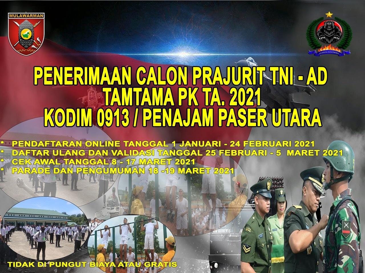 Kodim 0913/PPU Siap Terima Pendaftaran TNI-AD Gratis