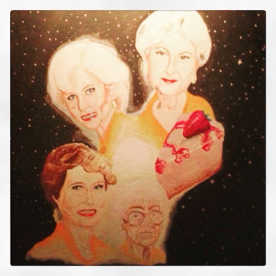 Mike Denision Golden Girls in space portraits with cheesecake