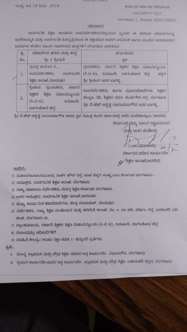 Transfer Orders of Deputy Directors of Public Education Department and similar officers