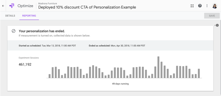 Optimize personalization report