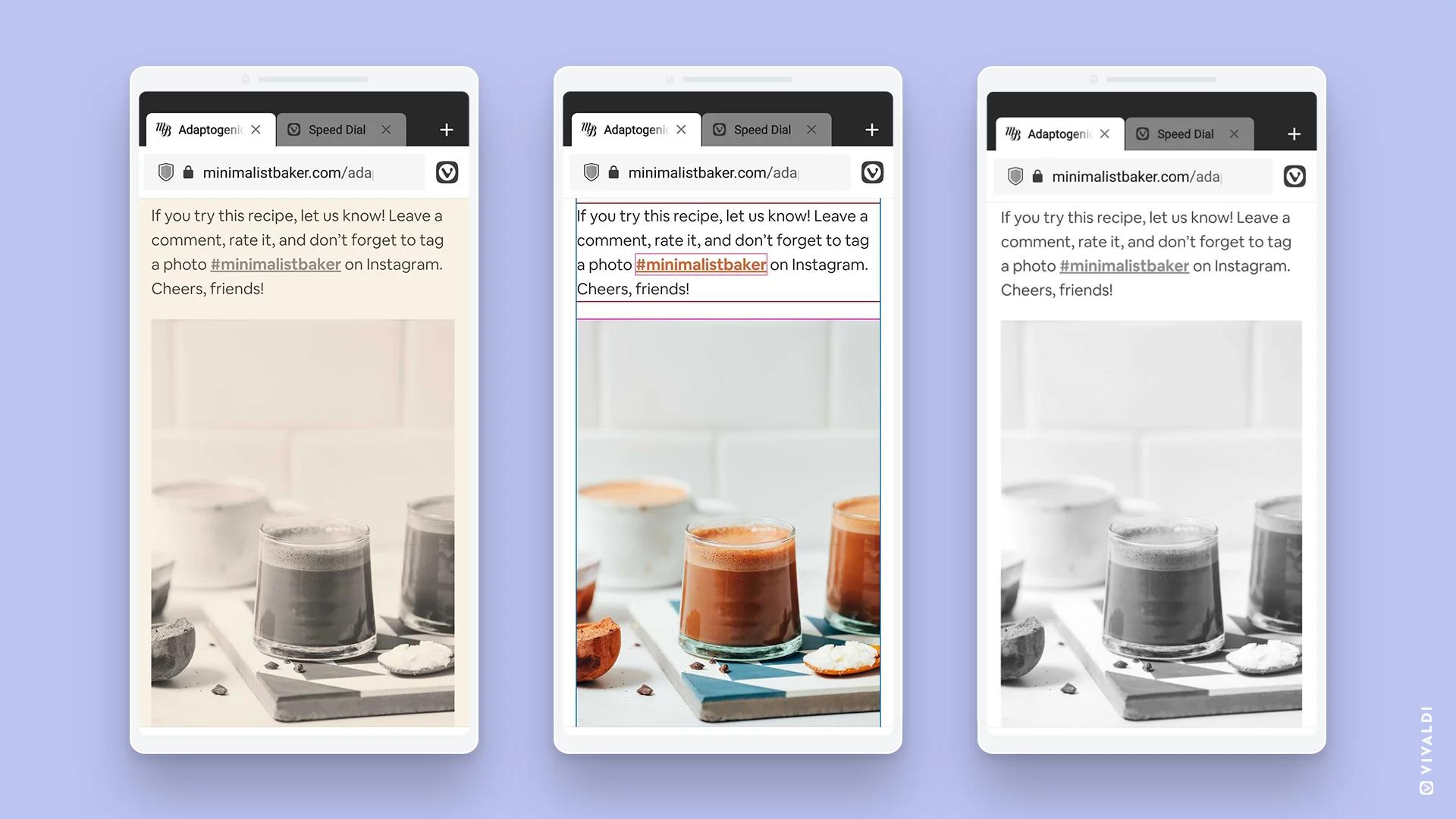 Con Vivaldi browser per Android personalizzi l'aspetto di ogni pagina Web