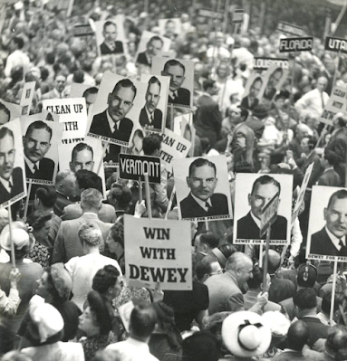 photo of crowd with signs at the 1948 Republican Convention, Philadelphia, PA by Irving Haberman