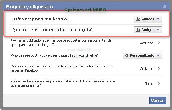 Facebook Timeline Opciones privacidad 2012