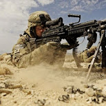 SAW M249 in action on the battle field in Miami, Florida, United States