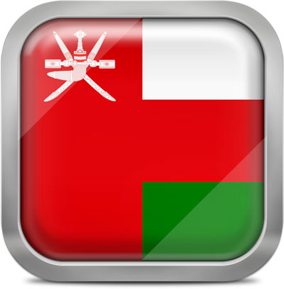 Oman square flag with metallic frame