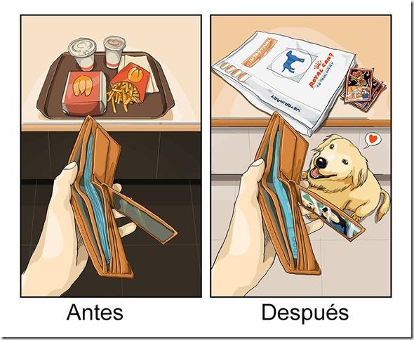 antes y despues de tener   perro (2)