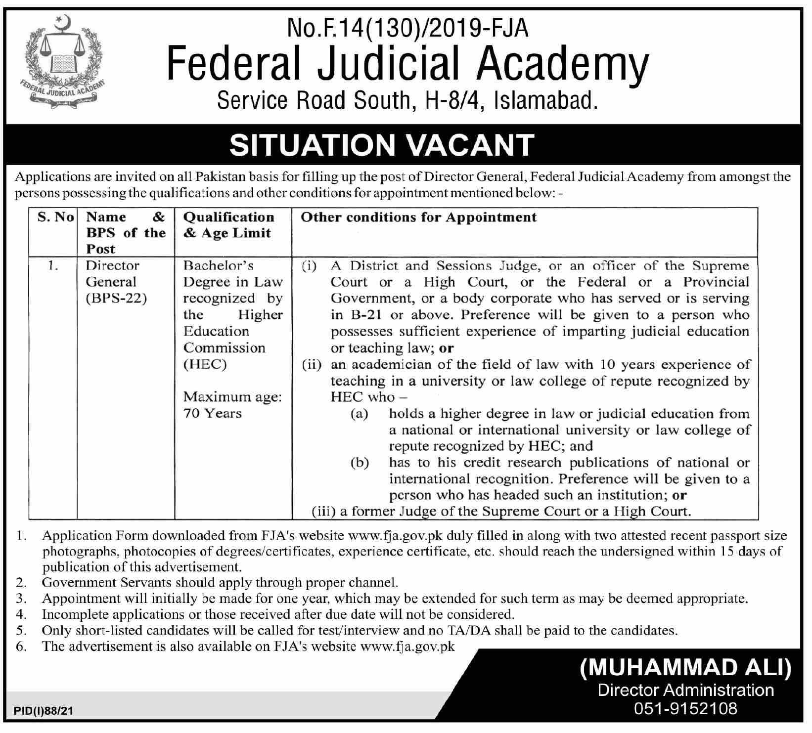 Federal Judicial Academy Islamabad Jobs 2021